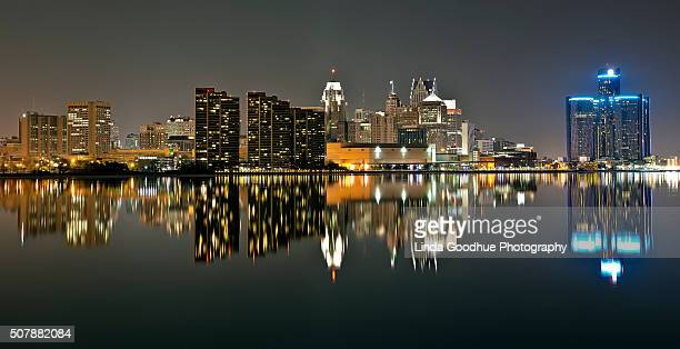 Detroit Michigan Night skyline