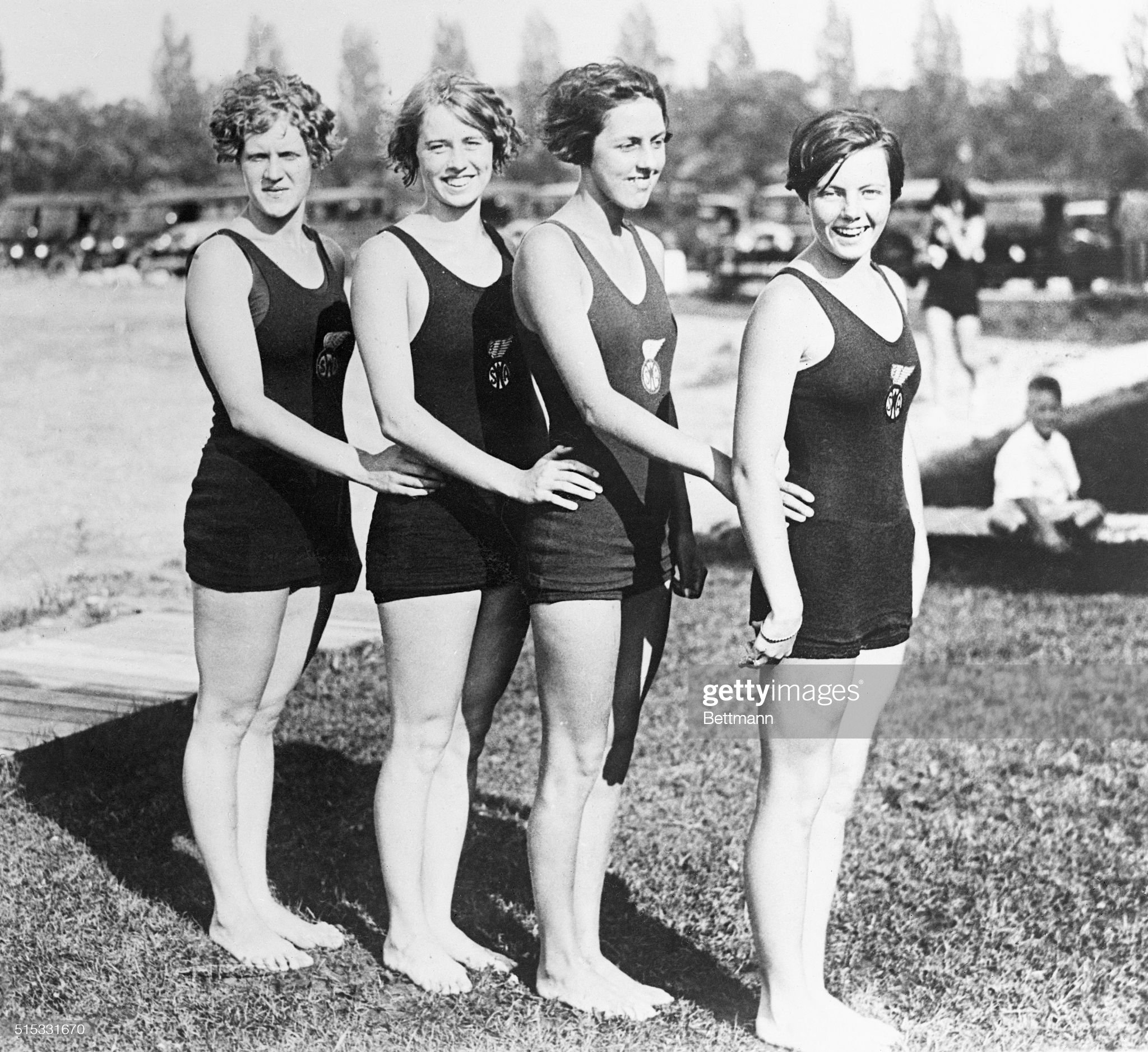 Women Swim Team Posing Together : News Photo
