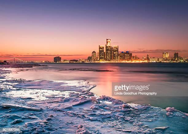 Detroit Michigan Winter skyline
