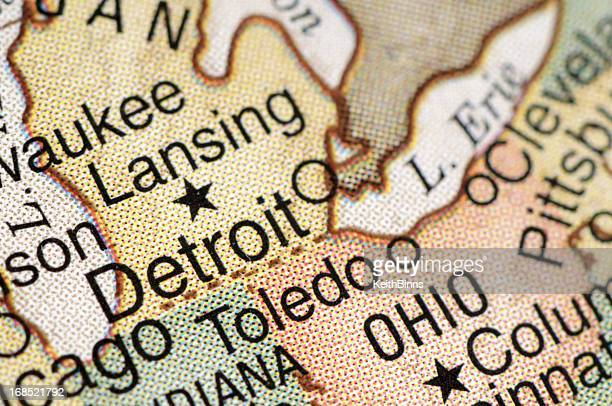 detroit - detroit michigan map stock pictures, royalty-free photos & images