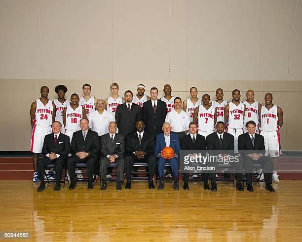 Detroit Piston team Photograph 2003-2004 season, FRONT ROW L-R - Herb Brown , John Kuester , Larry Brown , Joe Dumars , William Davidson , John...