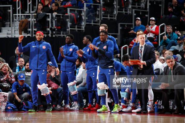 Detroit Pistons bench celebrates after play against the Atlanta Hawks on December 23 2018 at the Little Caesars Arena in Detroit Michigan NOTE TO...
