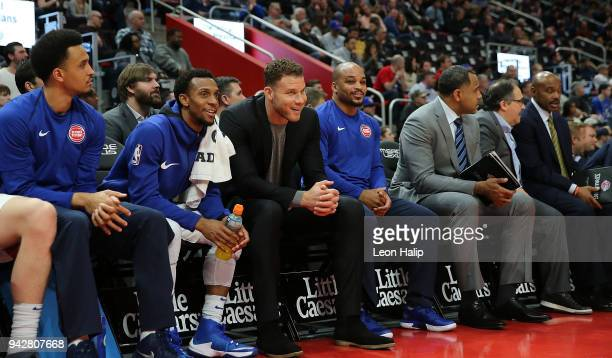 Detroit Pistons Blake Griffin watches the action from the bench during the game against the Dallas Mavericks at Little Caesars Arena on April 6 2018...