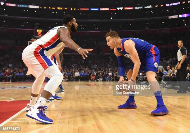 Detroit Pistons Center Andre Drummond guards Los Angeles Clippers Forward Blake Griffin during an NBA game between the Detroit Pistons and the Los...