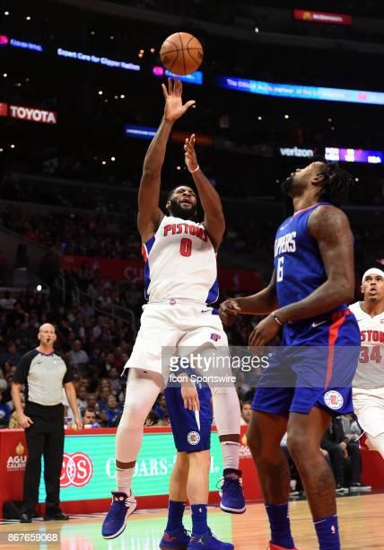 Detroit Pistons Center Andre Drummond shoots and off balance shot during an NBA game between the Detroit Pistons and the Los Angeles Clippers on...