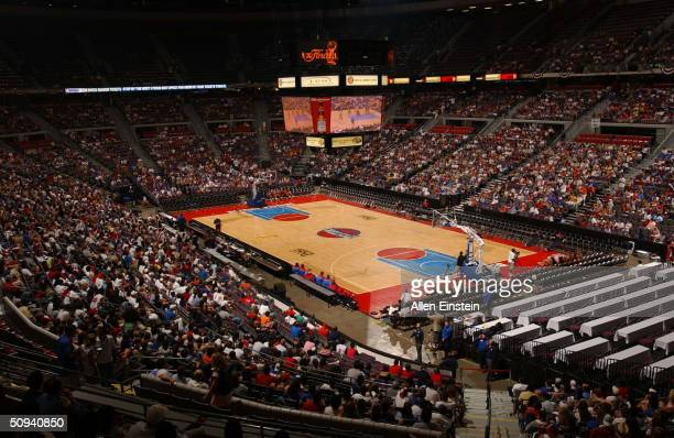Detroit Pistons fans watch the Pistons play the Los Angeles Lakers in Game 2 of the 2004 NBA Finals on PalaceVision at The Palace of Auburn Hills...
