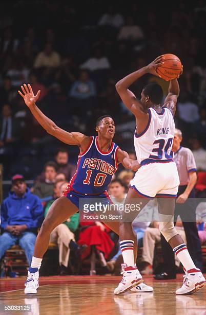 Detroit Pistons' forward Dennis Rodman guards against Washington Bullets' Bernard King at Capital Centre circa the 1990's in Washington, D.C.. NOTE...