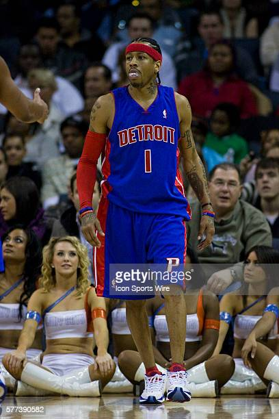 Detroit Pistons guard Allen Iverson against the Charlotte Bobcats during an NBA basketball game at Time Warner Cable Arena in Charlotte North...