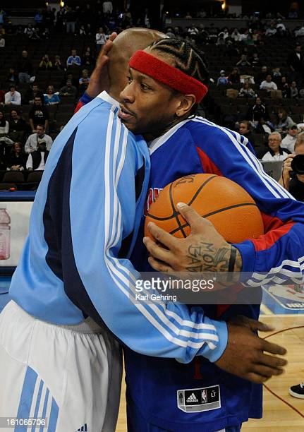 SP09NUGGETS_PISTONS Detroit Pistons guard Allen Iverson greeted Denver Nuggets guard Chauncey Billups before Friday's game The Denver Nuggets hosted...