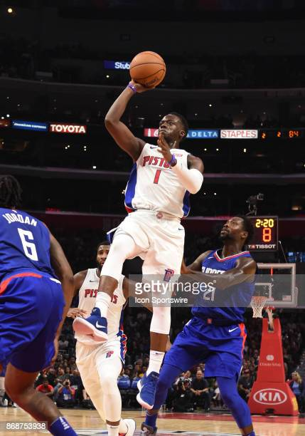 Detroit Pistons Guard Reggie Jackson shots an off balance shot during an NBA game between the Detroit Pistons and the Los Angeles Clippers on October...
