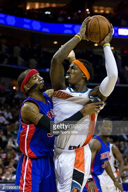 Detroit Pistons guard Richard Hamilton against Charlotte Bobcats forward Gerald Wallace during an NBA basketball game at Time Warner Cable Arena in...
