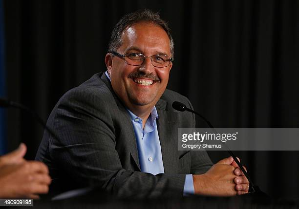 Detroit Pistons head coach and President of Basketball Operations Stan Van Gundy smiles during his introductory press conference at the Palace of...