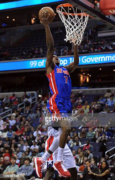 Detroit Pistons point guard Brandon Knight scores against the Washington Wizards in the first quarter at the Verizon Center in Washington DC Saturday...