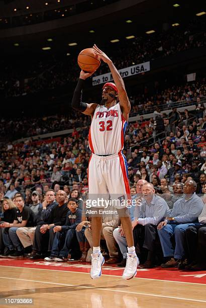 Detroit Pistons shooting guard Richard Hamilton goes for a jump shot during a game against the Miami Heat on March 23 2011 at The Palace of Auburn...