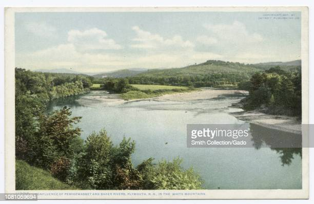 Detroit Publishing Company vintage postcard depicting the confluence of Pemigewasset and Baker Rivers in the White Mountains Plymouth New Hampshire...