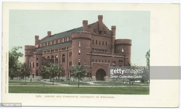 Detroit Publishing Company vintage postcard reproduction of the armory and gymnasium at the University of Wisconsin, Madison, Wisconsin, 1914. From...