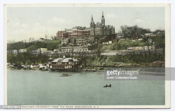 Detroit Publishing Company vintage postcard reproduction of the Georgetown University viewed from the Potomac River, Washington, District of...