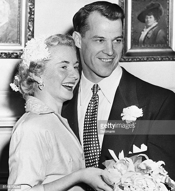 Detroit Red Wing star Gordie Howe and his bride the former Colleen Joffa are shown after their wedding