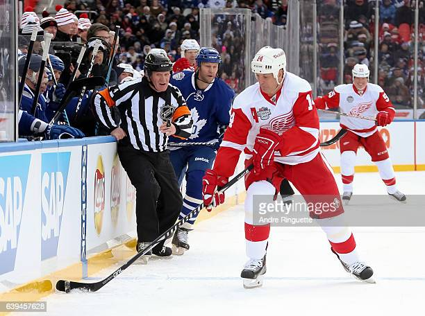 Detroit Red Wings alumni Brendan Shanahan stickhandles the puck during the 2017 Rogers NHL Centennial Classic Alumni Game at Exhibition Stadium on...
