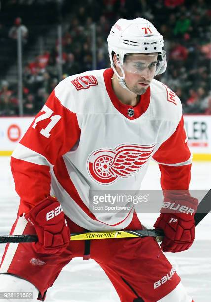 Detroit Red Wings Center Dylan Larkin enters the faceoff circle during a NHL game between the Minnesota Wild and Detroit Red Wings on March 4 2018 at...