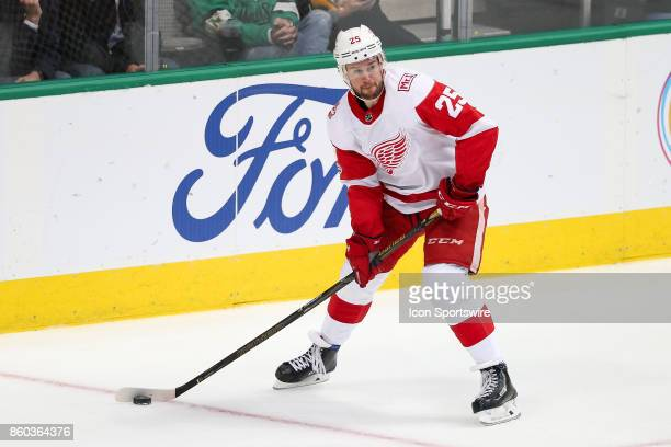 Detroit Red Wings Defenceman Mike Green handles the puck during the NHL game between the Detroit Red Wings and Dallas Stars on October 10, 2017 at...