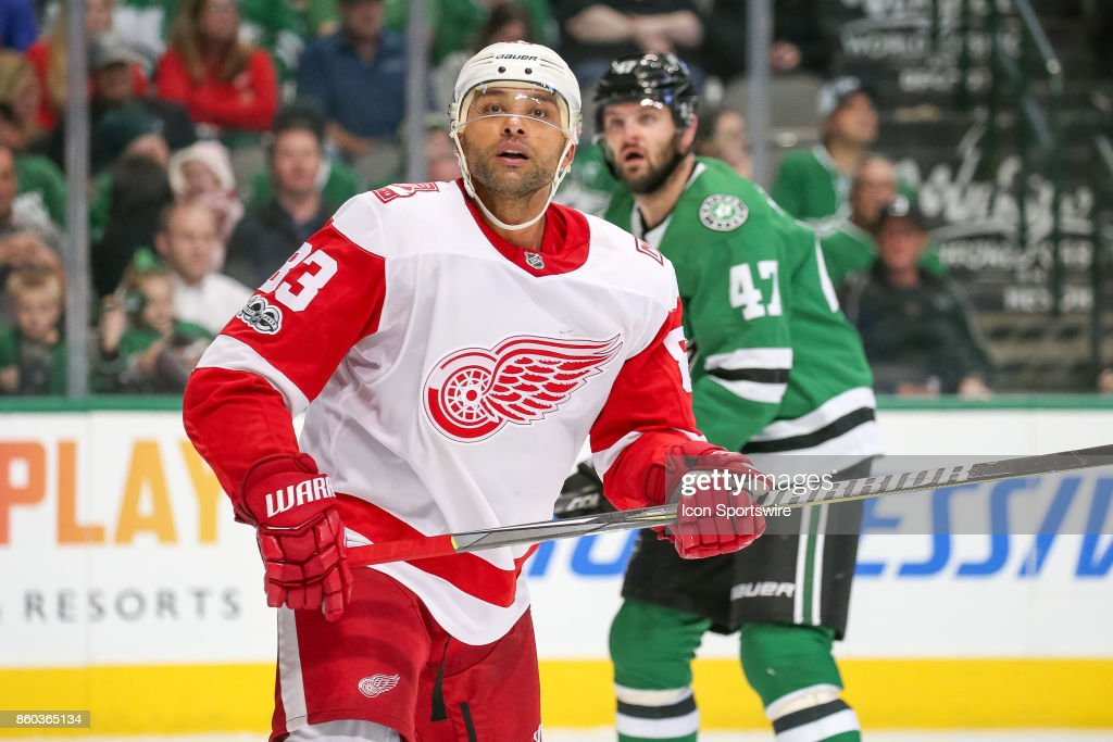 Detroit Red Wings Defenceman Trevor Daley (83) watches a puck fly out of play during the NHL game between the Detroit Red Wings and Dallas Stars on October 10, 2017 at the American Airlines Center in Dallas, TX.