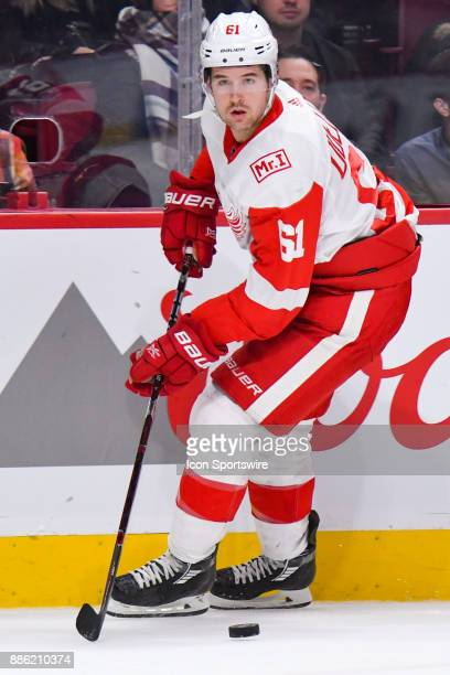 Detroit Red Wings Defenceman Xavier Ouellet looks for a pass target during the Detroit Red Wings versus the Montreal Canadiens game on December 2 at...