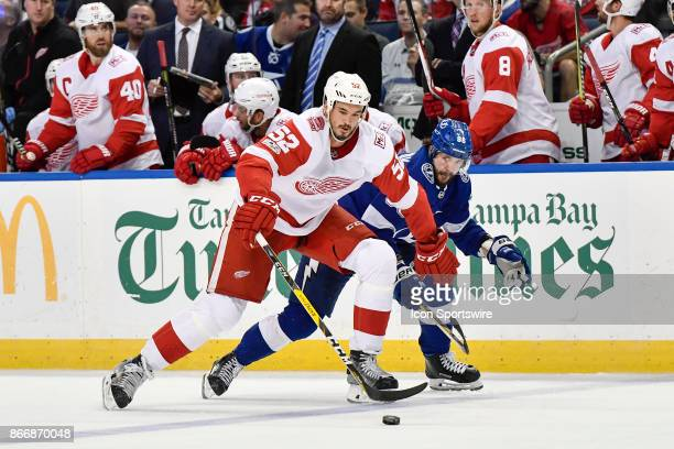 Detroit Red Wings defender Jonathan Ericsson uses his body to protect the puck from Tampa Bay Lightning right wing Nikita Kucherov during the third...