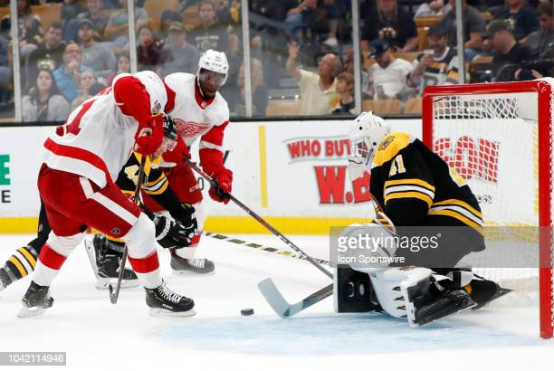 Detroit Red Wings defenseman Dennis Cholowski looks for a chance in front of Boston Bruins goalie Jaroslav Halak during a preseason game between the...