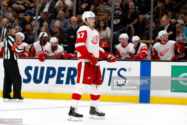 Detroit Red Wings defenseman Libor Sulak waits for a face off at the point during a preseason game between the Boston Bruins and the Detroit Red...