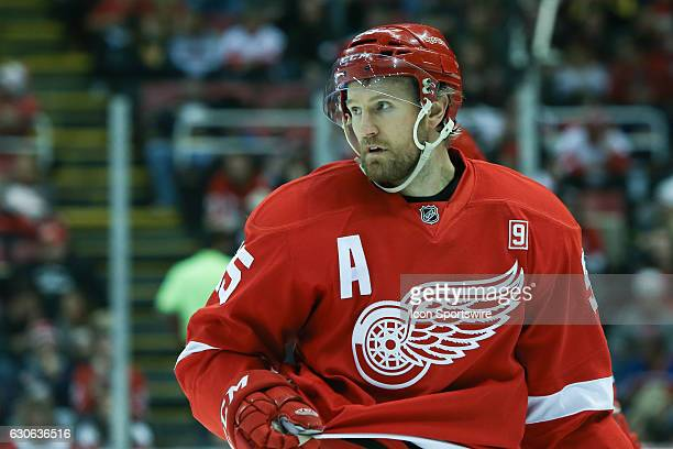Detroit Red Wings defenseman Niklas Kronwall of Sweden looks on during a regular season NHL hockey game between the Buffalo Sabres and the Detroit...