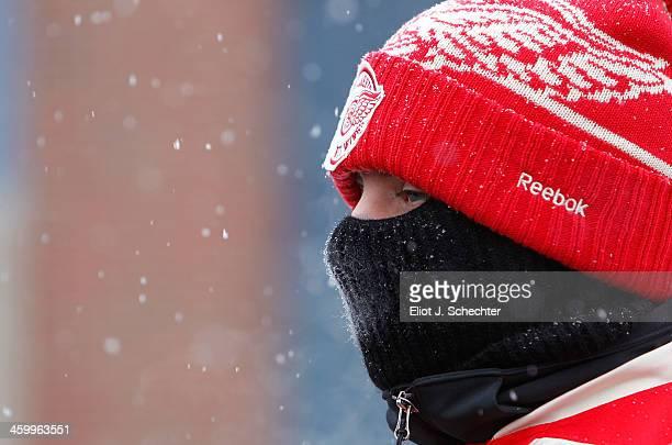 Detroit Red Wings fan attends the 2014 Bridgestone NHL Winter Classic on January 1, 2014 at Michigan Stadium in Ann Arbor, Michigan.
