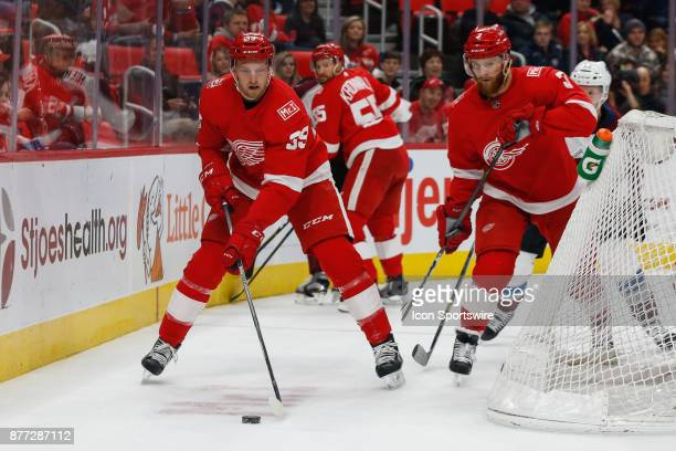 Detroit Red Wings forward Anthony Mantha skates with the puck during a regular season NHL hockey game between the Colorado Avalanche and the Detroit...