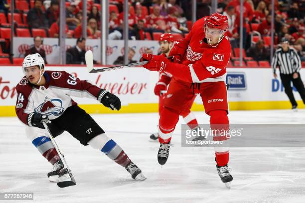 Detroit Red Wings forward Anthony Mantha takes a shot during a regular season NHL hockey game between the Colorado Avalanche and the Detroit Red...