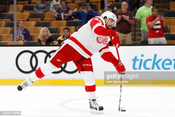Detroit Red Wings forward Axel Holmstrom shoots in warm up before a preseason game between the Boston Bruins and the Detroit Red Wings on September...