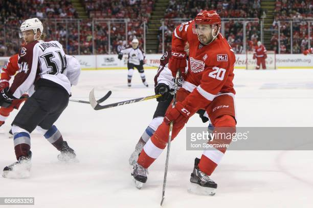 Detroit Red Wings forward Drew Miller skates during the third period of a regular season NHL hockey game between the Colorado Avalanche and the...
