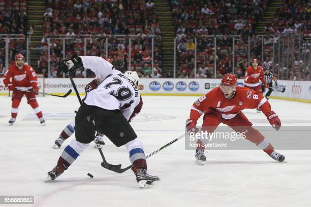 Detroit Red Wings forward Justin Abdelkader chases after the puck during the third period of a regular season NHL hockey game between the Colorado...