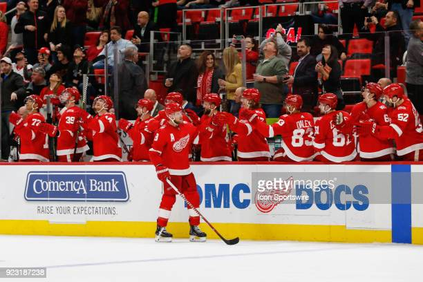 Detroit Red Wings forward Justin Abdelkader receives congratulations from his teammates on the bench after scoring the tying goal during the third...