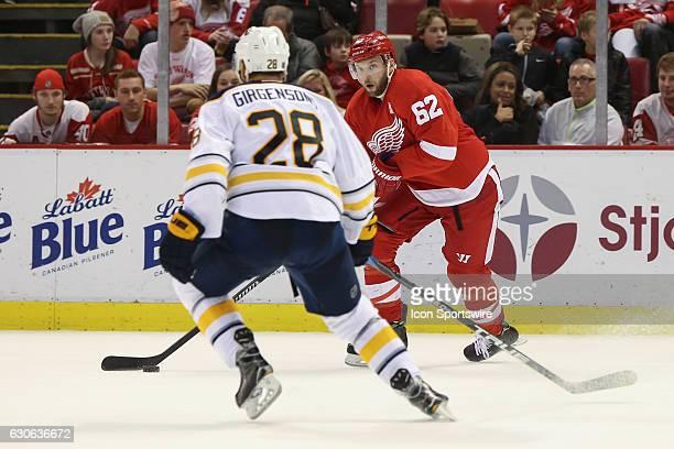 Detroit Red Wings forward Thomas Vanek of Austria skates with the puck during a regular season NHL hockey game between the Buffalo Sabres and the...