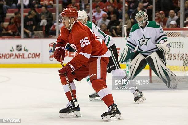 Detroit Red Wings forward Tomas Jurco of Slovakia skates during a regular season NHL hockey game between the Dallas Stars and the Detroit Red Wings...