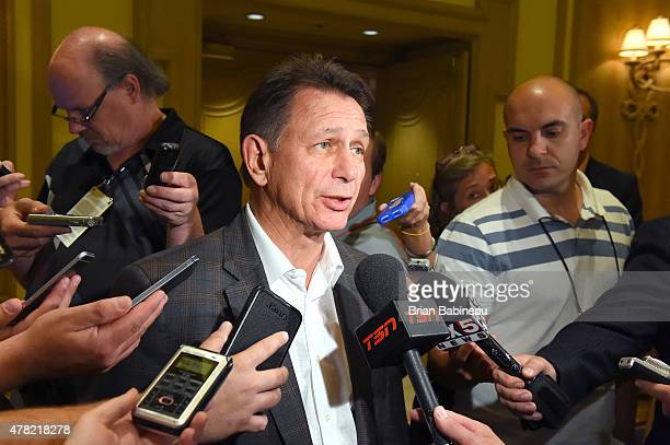Detroit Red Wings general manager Ken Holland meets with the media following the NHL general managers meetings at the Bellagio Las Vegas on June 23...