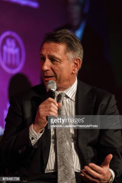 Detroit Red Wings general manager Ken Holland speaks during a QA with host Pierre Houde part of the NHL Centennial 100 Celebration at Bonaventure...