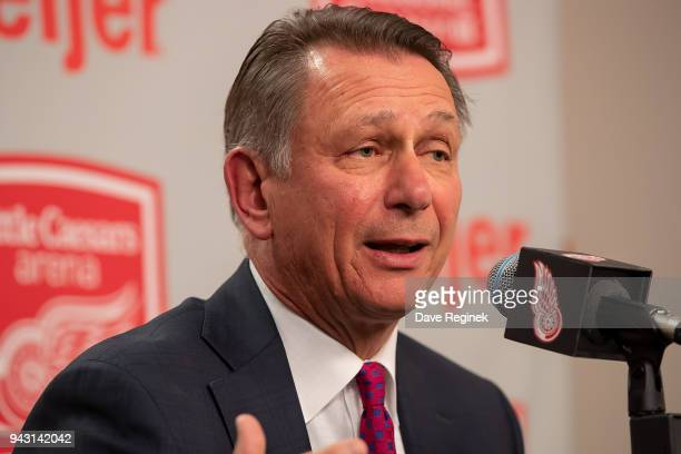 Detroit Red Wings General Manger Ken Holland addresses the media regarding his two year contract extension prior to an NHL game against the New York...