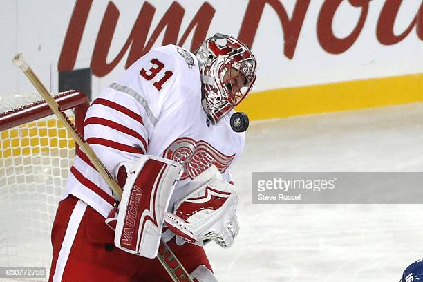 TORONTO ON JANUARY 1 Detroit Red Wings goalie Jared Coreau makes a stop as the Toronto Maple Leafs play the Detroit Red Wings alumni in the...