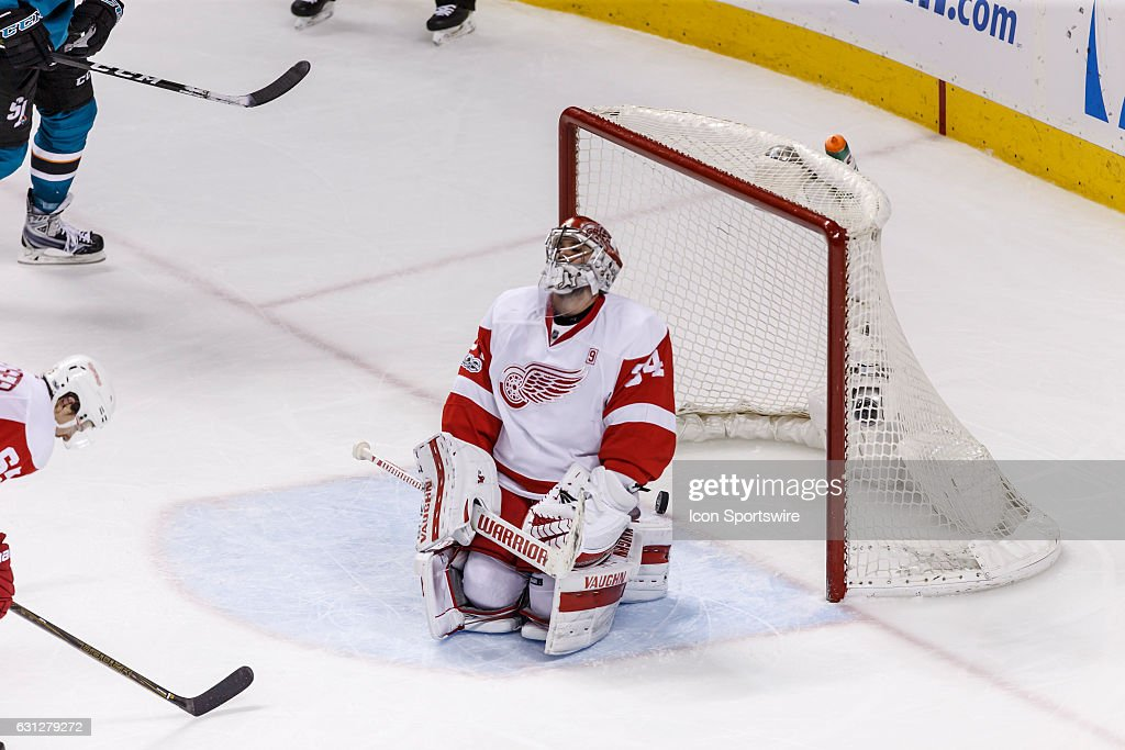 Detroit Red Wings goalie Petr Mrazek (34) looks skyward after allowing yet another goal during the third period of the regular season game between the Detroit Red Wings and the San Jose Sharks held January 7, 2017 at the SAP Center in San Jose. Final score: Sharks- 6, Red Wings- 3.