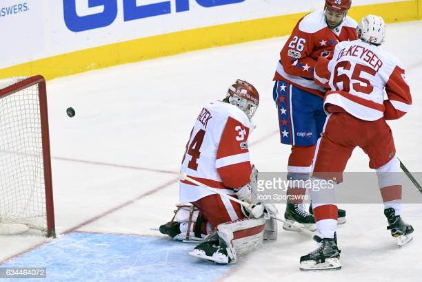 Detroit Red Wings goalie Petr Mrazek makes a save on shot by Washington Capitals left wing Daniel Winnik in the third period on February 9 at the...