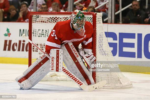 Detroit Red Wings goalie Petr Mrazek of the Czech Republic looks on as he protects the goal during the second period of a regular season NHL hockey...