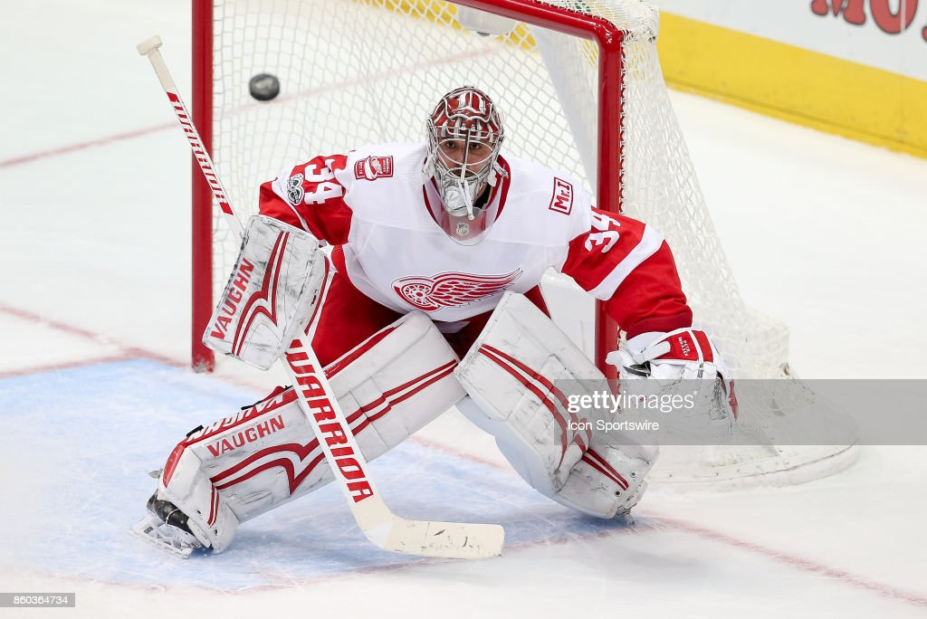 Detroit Red Wings Goalie Petr Mrazek (34) watches a puck during the NHL game between the Detroit Red Wings and Dallas Stars on October 10, 2017 at the American Airlines Center in Dallas, TX.