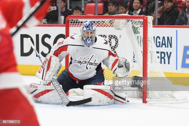 Detroit Red Wings goaltender Jared Coreau makes an easy glove save during the Detroit Red Wings game versus the Washington Capitals on March 22 at...