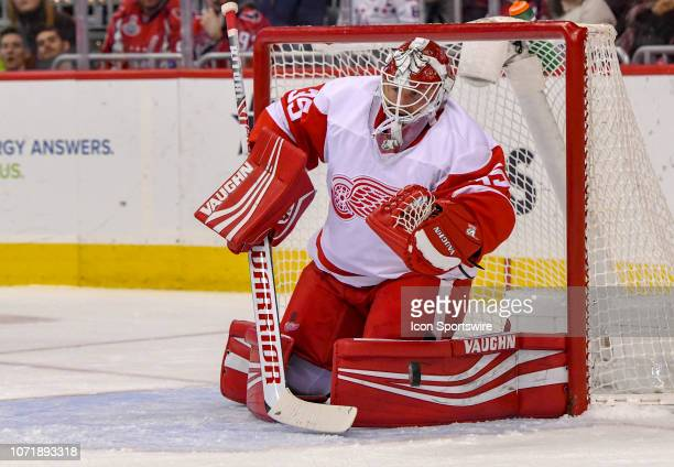 Detroit Red Wings goaltender Jimmy Howard makes a second period save on a shot by the Washington Capitals on December 11 at the Capital One Arena in...